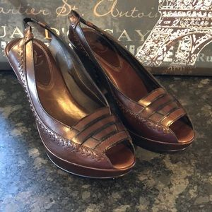 Frye Slingback Peep Toe Leather Heels New 9.5